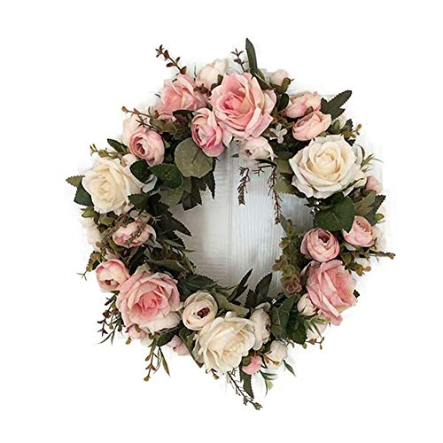 LinTimes Garland Handmade Floral Artificial Decoration for Home Patry Door Wedding Pink Peony