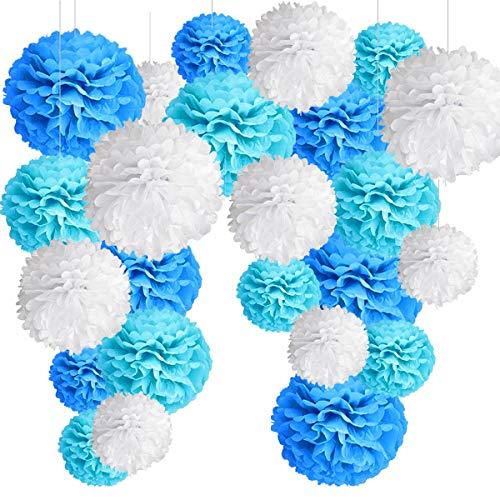 24 Pompones Azul Decoracion Bautizo Niño, Flores Pompom de Papel de Seda. Decoración Fiesta de Bienvenida de Bebe, Cumpleaños -24 Piezas-