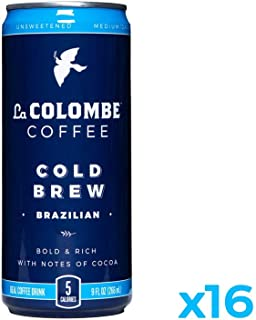 La Colombe Cold Brew Coffee - Brazilian - 9 Fluid Ounce, 16 Count - Medium Roast, Single-Origin - Made With Real Ingredients - No Sugar Added - Pure Black Coffee Grab And Go
