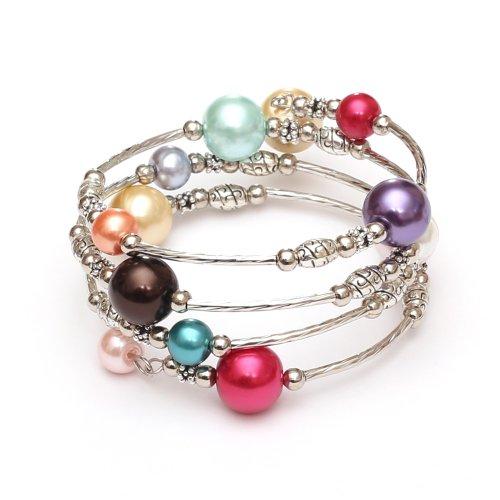 Idin Jewellery - Cuentas de perlas de vidrio multicolores y cuentas de estilo tibetano con pulsera Mardi Gras wrap