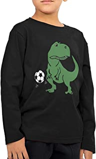 Little Boys Cute T-rex Dinosaur Playing Soccer ComfortSoft Long Sleeve T-Shirt