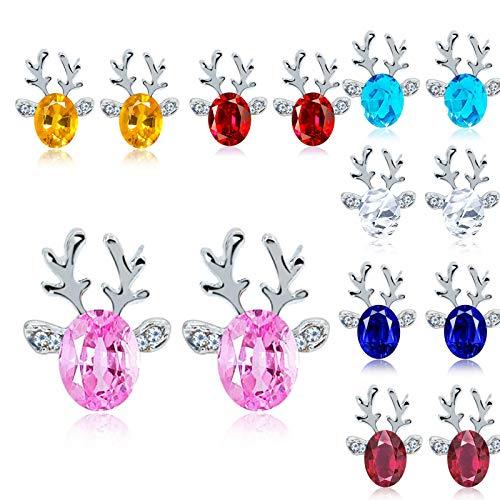 7 Pairs/Set Christmas Reindeer Stud Earings Xmas Elk Deer 3D Rhinestone Hypoallergenic Cute 3D Multicolor for Women Girls Animal Holiday Jewelry Gift