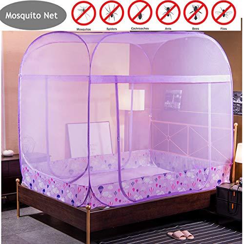 Yangm Opvouwbaar muggennet met pop-up muggennet, eenvoudige installatie, drie zijopeningen voor vliegen en insecten, bescherming romantische eenvoudige installatie, geen chemicaliën, 100% polyester