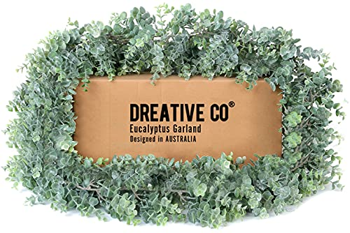 DREATIVE CO 9.2ft Eucalyptus Garland Greenery – Boxwood Lambs Ear, Wedding, Mantle or Fresh Plant for Baby Shower Decorations, Artificial Faux Face Eculaptus, Green Leaf Magnolia, Farmhouse or Table