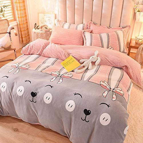 Shinon teddy bear bedding single purple,Winter double-sided plush flannel plus down duvet cover bedding bed sheet single double bed single pillowcase-K_2.0m bed (4 pieces)