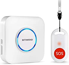 Wireless Caregiver Pager,Nurse Call Alert,Panic Button with IP55 Waterproof SOS Button for Caregiver Alert 52 Melodies with Wireless Range 260ft (1 SOS Button+1 Receiver) Neck Strap Included