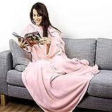 Personalisierte Kuscheldecke mit Namen (Rosa) - Decke mit Ärmeln | Mit Bestickung nach Wunsch | Super als TV-Decke mit Ärmeln | Super Geschenk für Frauen | Fleecedecke