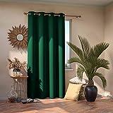 AmeliaHome Blackout Cortina 140 x 245 cm, Color Verde Oscuro, 1 Unidad, Cortina Opaca para Ventana, decoración Decorativa