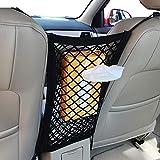 Car Net Pocket Handbag Holder Car Mesh Organizer Between Seat Storage 2-Layer and Handbag Holding Net Pocket Purse Holder for Dog Car Barrier (Black)