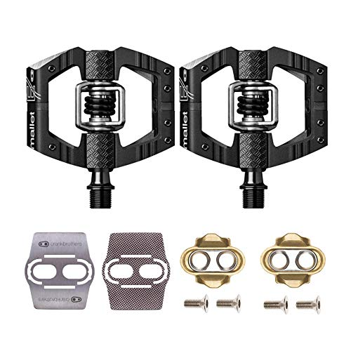 Crank Brothers Mallet Enduro Bike Pedals (Black/Black) with Premium Cleats and Shoe Shields Set for Traction