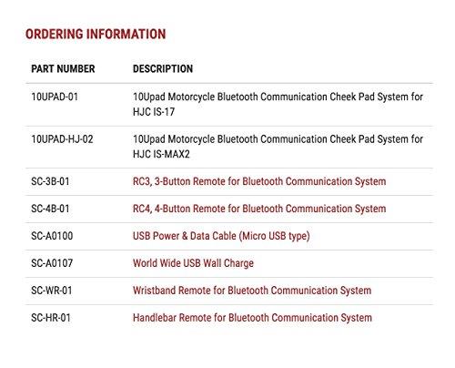 10Upad Bluetooth-Kommunikationssystem für Motorräder und Roller, Wangenpolstersystem für HJC IS-MAX2 - 7