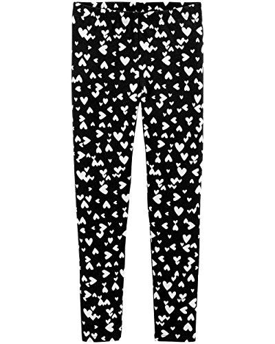 Osh Kosh Girls' Kids Full Length Leggings, Black/White Heart, 6-6X