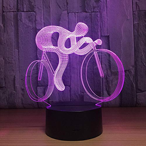 3D Ilusión Luz Bicicleta Led Lámpara De Nocturna 7 Colores Que Cambian...