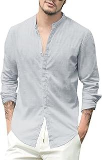 Beotyshow Mens Casual Button Down Shirts Linen Beach Fishing Tees Stand Collar Plain Henley Shirt for Men