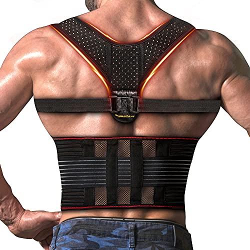 Olymstars Posture Corrector for Men and Women, 3 in 1-Adjustable Back Support Posture Corrector-, Relieve Neck, Column, Shoulder, Upper, and Lower Back Pain-Provide Shoulder and Back Support