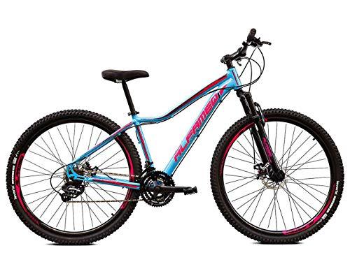 Bicicleta Aro 29 Alfameq Pandora Feminino 21v Freio a Disco Azul com Rosa e Roxo 15