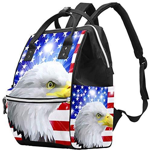 Backpacks DiaperBag Laptop Rucksack Lightweight Hiking Camping Travel Daypack for Women Glitter USA Flag Animal Eagle
