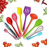 JISNKEI Silicone Kitchen Utensil Set,10 Cooking Utensils Set,Nonstick Non-Scratch Colorful Cookware Set,Kitchen Tools for Home Cooking,BBQ,Baking