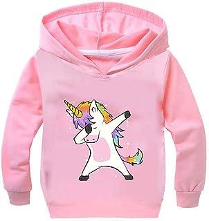 0fec9f96d45d8 Leslady Fille Unisexe Sweat-Shirt à Capuche Pull Licorne Imprimé Unicorne  Coloré Manches Longues Enfant