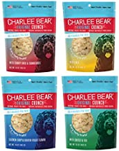 Charlee Bear Dog Treats Variety Pack includes Liver, Egg and Cheese, Chicken and Garden Vegetable, Turkey Liver and Cranberries (4 Pack)