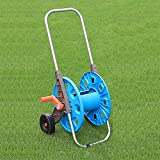 """HVDI Garden Hose Reel Cart with 2 Wheels and Heavy Duty Outdoor Water Planting Cart, Retractable Carts Metal HandleHold 175 Feet of 1/2"""" Hose for Yard, Lawn, Farm,Patio"""