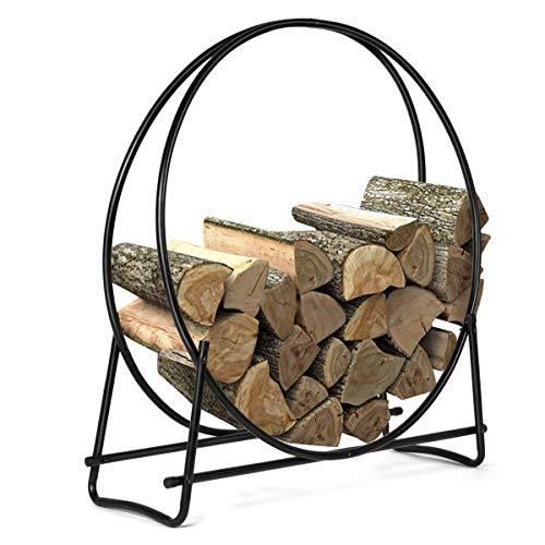Purchase GOFLAME 41 Inch Firewood Log Rack, Round Tubular Steel Fireplace Wood Storage Holder for In...