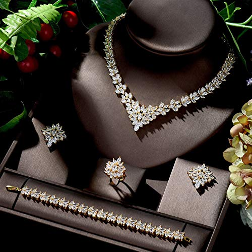 Shability Conjuntos De Joyas De Oro para Mujeres Forma De Hoja Collar Nupcial Pendientes Set yangain (Color : Gold Color)