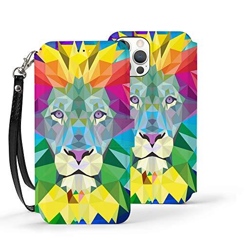 Serity Rainbow Lion - Funda de piel para iPhone 12 con 3 ranuras para tarjetas de crédito y una ranura para billetes más grande dentro de la cartera, Ip12pro Max-6.7