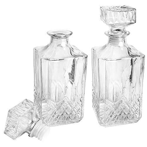 Glaskaraffe ELEGANCE | Dekanter | 2 Stück | 9 cm x 9 cm x 23 cm (inkl. Verschluss) | 900 ml | Ideal für Whiskey, Cognac, Likör, Whisky-Karaffe