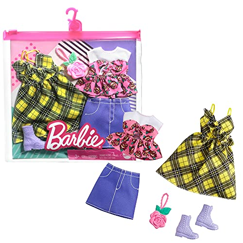 Barbie Paquete de Moda para muñecas - Vestido Amarillo a Cuadros y más