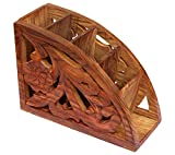 ITOS365 Wooden Floral Carved Remote Control Rack Stand Holder Storage Organizer Home Office Decor