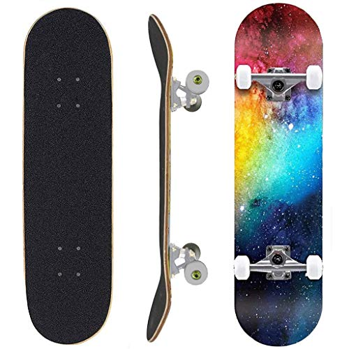 Follure skateboards for kids, 31 x 8 inch Complete Skateboard for Beginners, 7 Layer Canadian Maple Double Kick Deck Concave Cruiser Skateboard for Kids and Adults