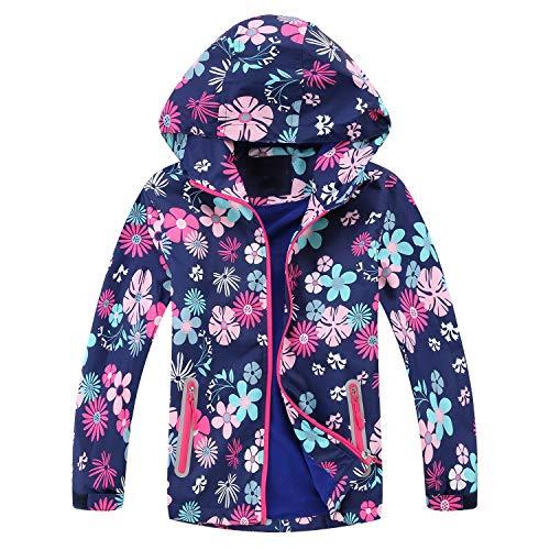 Echinodon Mädchen Gefütterte Jacke Outdoorjacke Übergangsjacke Wanderjacke wasserabweisend Winddicht Kinder Regenjacke Funktionsjacke 150