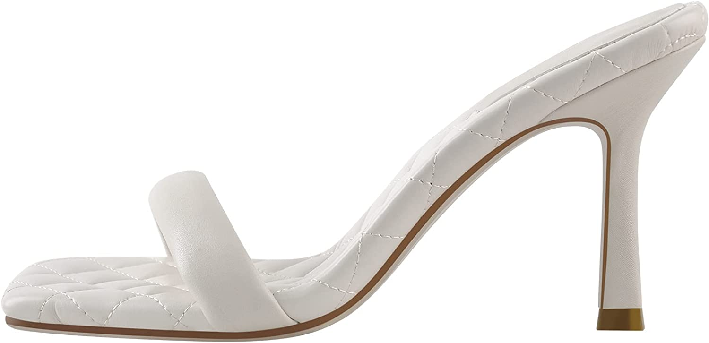 onlymaker Women' Square Open Toe Mules Slim High Heel Sandals