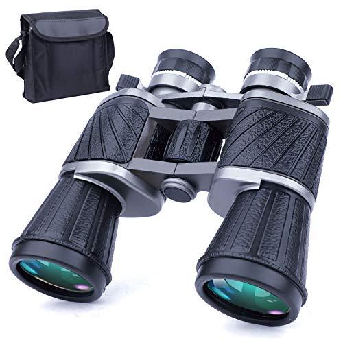 Jumelles Puissantes 10x50 pour Adultes avec Vision Nocturne à Faible Eclairage, Grand oculaire, Jumelles Compactes Etanches Grand Angle pour Adultes-Observation des Oiseaux, Chasse, Concerts