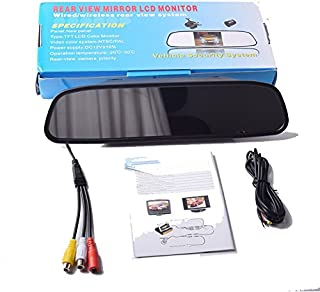 EKYLIN 12V-24V 4.3 inch Car Video Monitor Auto Rear View Mirror LCD Screen Universal Mount Clip-On Current Mirror for Back...