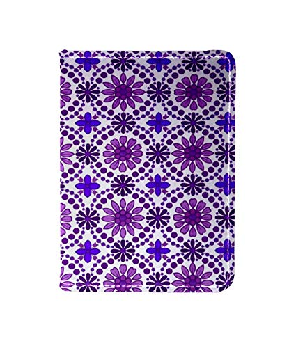 Purple Flowers Geometry Passport Holder Cover Wallet,RFID Blocking Card Case Travel Passport Organizer Protector