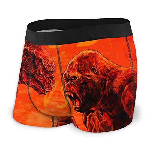 AMSYES (God-Zilla Vs. King Kong) Men's Boxer Briefs Short Sports Underwear for Youth Black