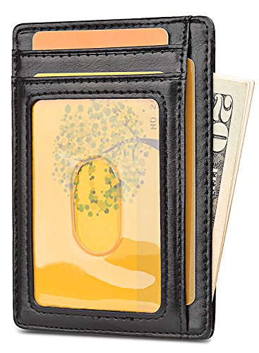 Slim Minimalist Front Pocket RFID Blocking Leather Wallets for Men & Women – Alaska Black