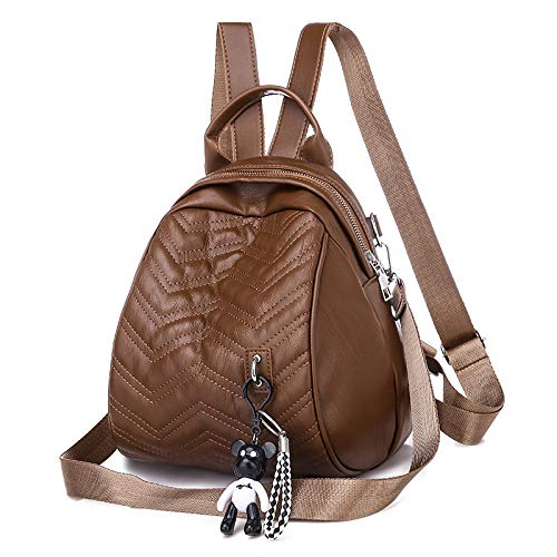 Mochila de piel sintética suave para mujer salvaje de doble uso en el pecho bolsa de viaje de ocio pequeña mochila escolar, Brown (Marrón) - sdsd-2673