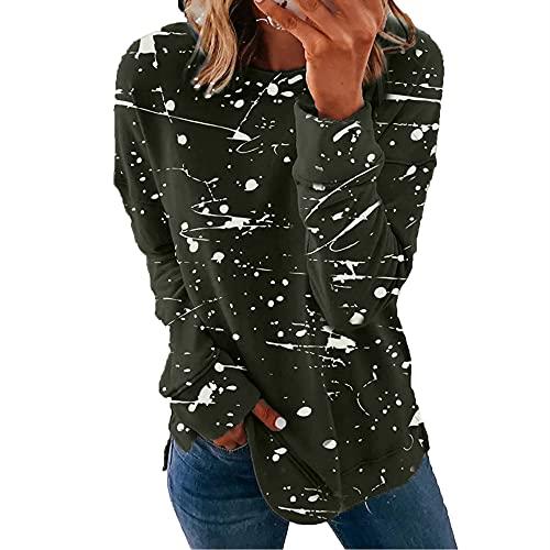 N\P Camiseta casual de manga larga con estampado de color a juego para mujer