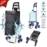 2020 Upgraded Folding Shopping Cart Stair Climbing Cart with Quiet Rubber Tri-Wheels Grocery Utility Cart with Wheel Bearings Multi Pockets Waterproof Bag & Platform for Laundry Basket Loading