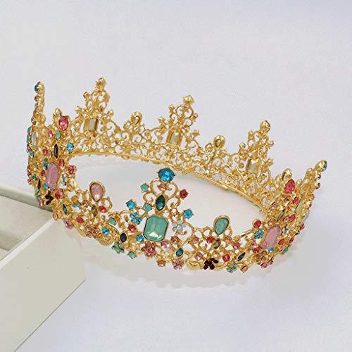 Diaod Reina Real Crown Colorido Jelly Crystal Rhinestone Piedra Tiara Tiara para Mujer Disfraz Accesorios para el Cabello Nupcial