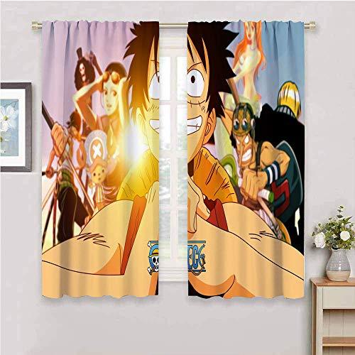 Cortinas de una pieza para oscurecer la habitación, de anime japonés, aisladas, térmicas, con bolsillo para barras, cortinas de oscurecimiento para sala de estar de 132 x 214 cm