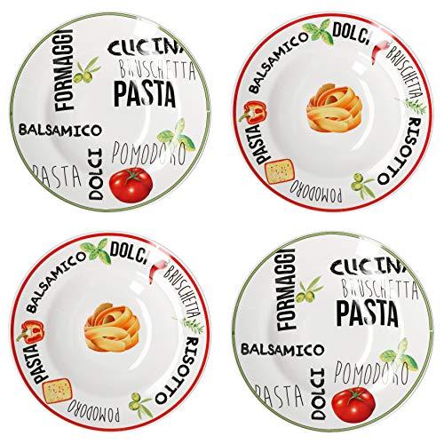 MamboCat Lot de 4 assiettes à pâtes avec décor I Vert et rouge I Ø 26,5 cm I Assiette à manger profonde I vaisselle blanche avec inscriptions et motif