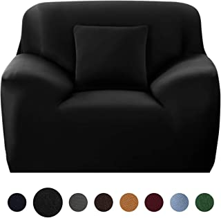 JQinHome Chair Slipcover Stretch Sofa Cover Polyester Spandex Cushion Covers Living Room Furniture Protector Cover Couch Shield Includes 1 Free Cushion Case - Chair (1 Seater, 35-55 Inch)