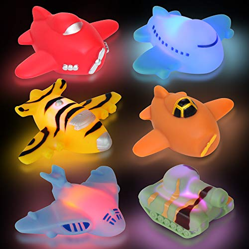 yoliyogo Floating Plane Toy with Auto Flashing Airplane and Tank Model Bath Floaties Play Set 6 pcs