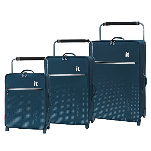 it luggage World's Lightest Vitalize 2 Wheel Super Lightweight Suitcase, Legion Blue, 3-Piece Set