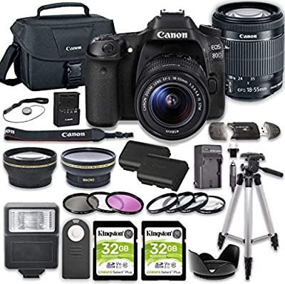 Canon EOS 80D DSLR Camera Bundle with 18-55mm STM Lens + 2pc Kingston 32GB Memory Cards + Accessory Kit from Canon Intl.