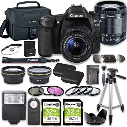 Canon EOS 80D DSLR Camera Bundle with 18-55mm STM Lens + 2pc Kingston 32GB Memory Cards + Accessory Kit